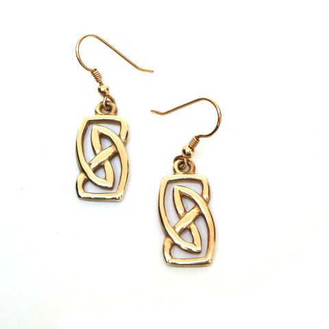 Vatersay Celtic Earrings in 9ct Gold - drop wires