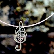Celtic Treble Clef Necklace in Sterling Silver