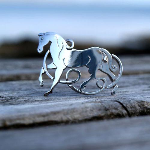 Silver Celtic Horse Brooch