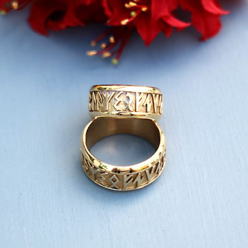 9ct Gold Runic Rings size N1/2 and T1/2