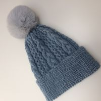 Aran Beanie Hat in with detachable pompom