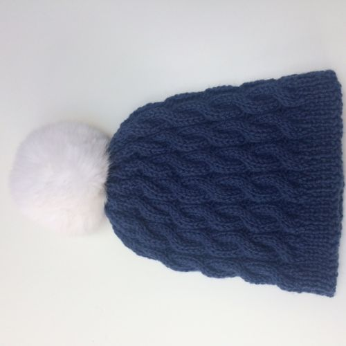 Aran Beanie Hat in pure new wool with detachable pompom