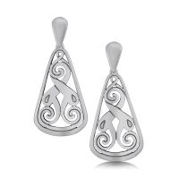 Silver Celtic Earrings - Birsay Disc