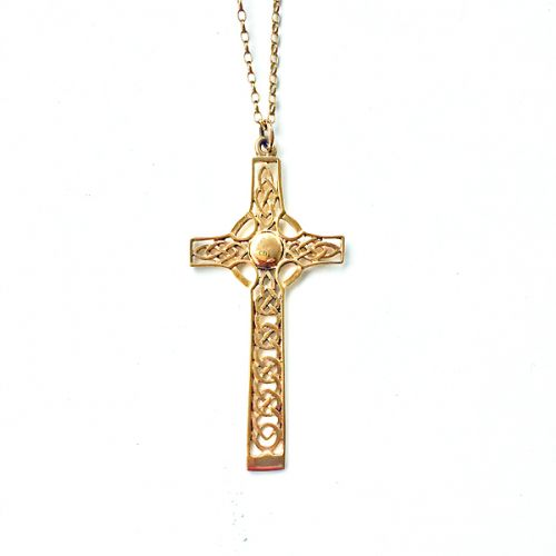 "Large 9ct Gold Celtic Cross and 16"" Chain - St Monan"