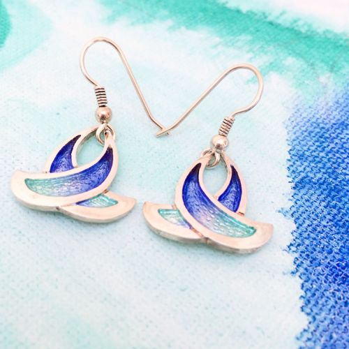 Sheila Fleet Summer Splash Silver Enamel Earrings