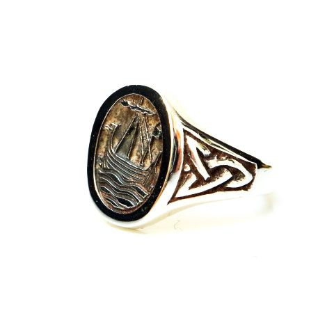 Viking Longship Silver Ring with Celtic Knotwork Design